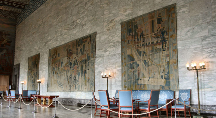 "Kåre Jonsborg´s tapestries: ""Lilletorget"". Year 1950. Oslo Rådhus/City hall, Norway. Photo: Frode Helland"